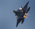 An F-22A Raptor transitions into a tight left turn..jpg