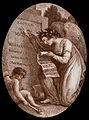 An angel readign the inscription on the tombstone of William Wellcome V0042439.jpg