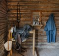 An everyday soldier's garb and possessions inside a cabin at Fort Caspar, a reconstructed 1865 military post located at a North Platte River crossing on the Oregon, Mormon Pioneer, California, and LCCN2015634112.tif