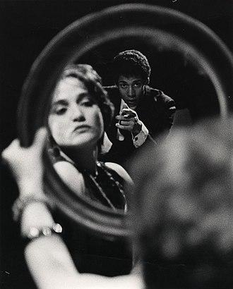 The Balcony - Angelique Rockas as Carmen with Okon Jones in The Balcony, at Internationalist Theatre, London (1981).