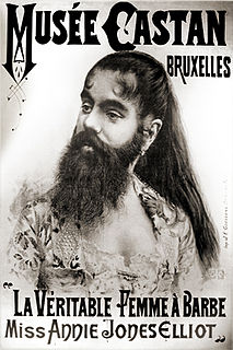 awoman with a beard; historically, such women uearned their income as a circus-like attraction