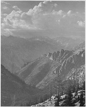 Kings River (California) - A photograph taken by Ansel Adams of the Middle Fork from the south fork of Cartridge Creek