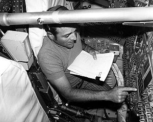 Apollo 17 Evans training in Command Module Simulator Ap17-KSC-72P-445.jpg