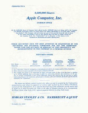 Hambrecht & Quist - Apple Computer IPO 1980