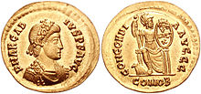 Obverse and reverse sides of a coin of Arcadius