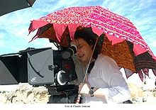 Francesca Archibugi durante le riprese di Lezioni di volo