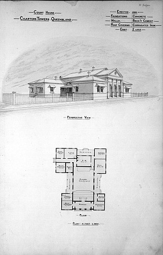 Charters Towers Courthouse - Perspective view of the Court House, 1888