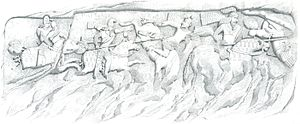 Cataphract - Equestrian Relief at Firuzabad, Iran showing Cataphracts dueling with lances