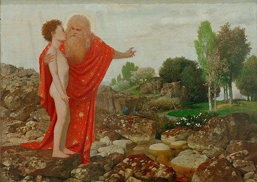 Arnold Böcklin - Gottvater zeigt Adam das Paradies (ca.1884)