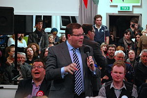 New Zealand general election, 2014 - Paul Foster-Bell speaking at the Aro Valley candidates meeting, held in Wellington on 8 September