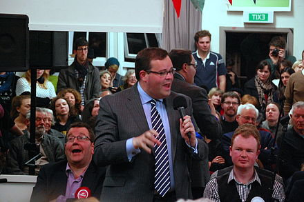 Paul Foster-Bell speaking at the Aro Valley candidates meeting, held in Wellington on 8 September Aro Valley candidates meeting (15174105711).jpg