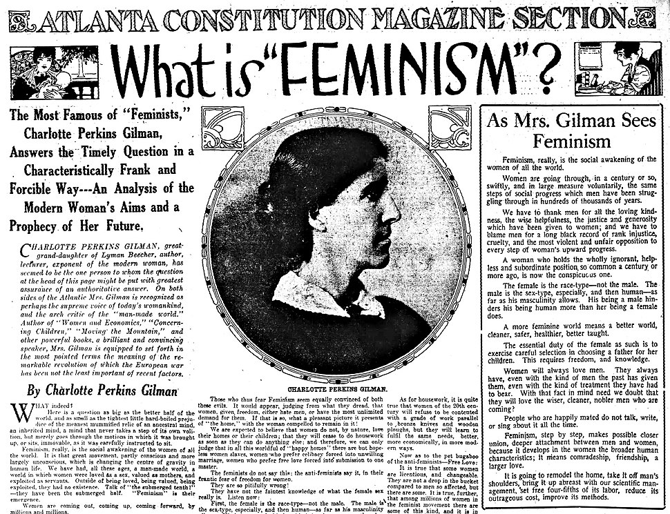 Articles by and photo of Charlotte Perkins Gilman in 1916