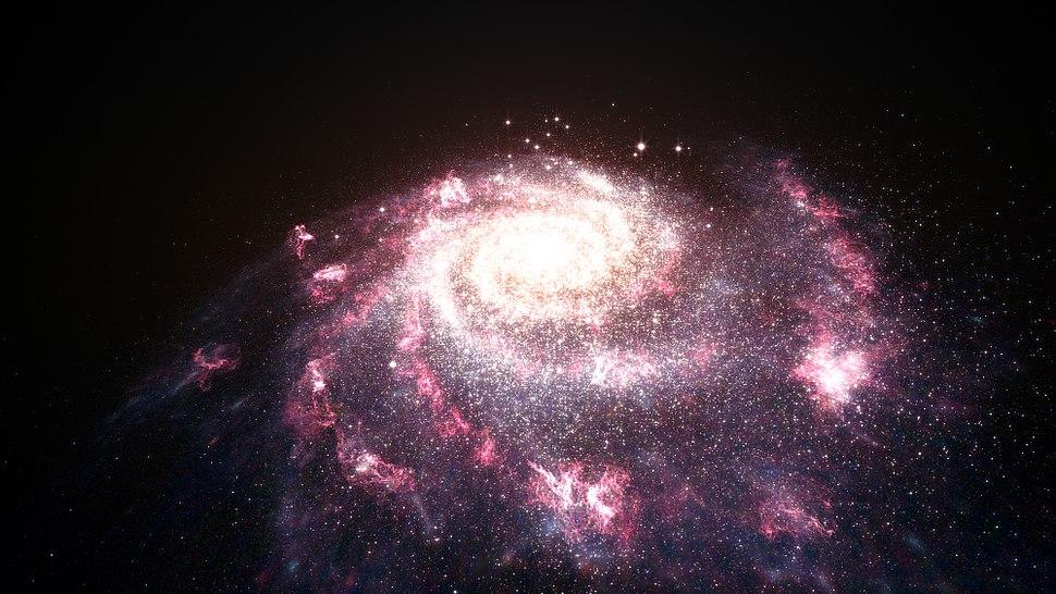 Artist's impression of a galaxy undergoing a starburst