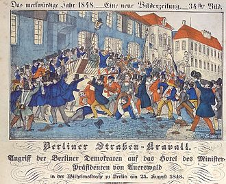 Rudolf von Auerswald - Berlin democrats attacking Prime Minister Auerswald's Wilhelmstraße hotel on 21 August 1848 (contemporary drawing)