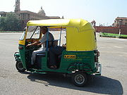 Auto rickshaws in New Delhi run on Compressed Natural Gas