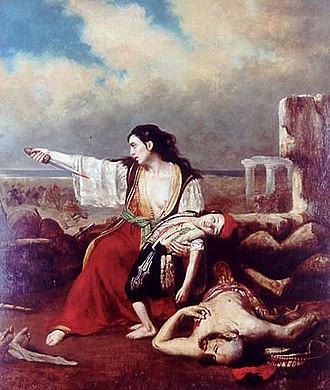 François-Émile de Lansac - Episode of the siege of Missolonghi (1827). Missolonghi Pinacothèque.