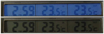 Views of a liquid crystal display, both with electroluminescent backlight switched on (top) and switched off (bottom) Backlit LCD display.jpg