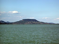 Badacsony mountain from Balatonmáriafürdő, Hungary.jpg