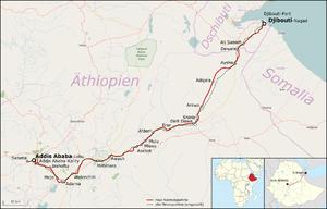 Addis Ababa–Djibouti Railway - Image: Bahnstrecke Addis Abeba–Dschibuti
