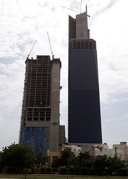 At a height of 300 metres (980 ft), Bahria Icon Tower, Karachi is the tallest skyscraper in Pakistan as well as in South Asia Bahria Icon Karachi.jpg