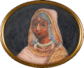 Bajibai of Gwalior, watercolour on ivory, c. 1857.png