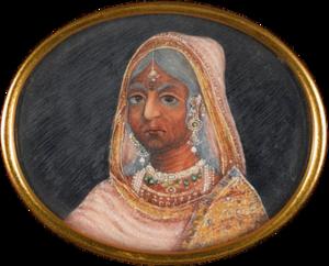 Baiza Bai - Image: Bajibai of Gwalior, watercolour on ivory, c. 1857
