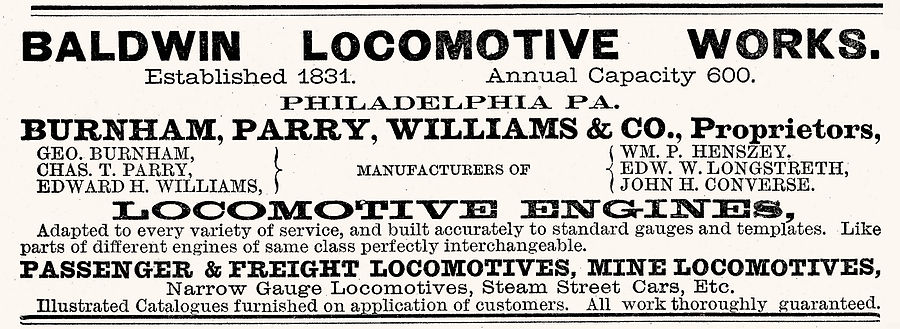 1882 advertisement for the Baldwin Locomotive Works Baldwin Locomotive Works 1882 ad.jpg