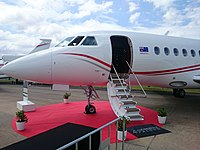 Balmoral Air (VH-WIO) Dassault Falcon 2000EX on display at the 2015 Australian International Airshow.jpg