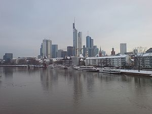 Winter skyline in Frankfurt, Germany.