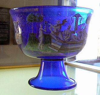 Studio glass - Nuptial bowl by Angelo Barovier, Murano Glass Museum