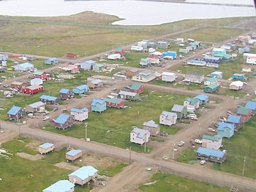 "Utqiagvik (Browerville neighborhood near Eben Hopson Middle School shown), known colloquially for many years by the nickname ""Top of the World"", is the northernmost city in the United States. Barrow-Alaska-skyview.jpg"