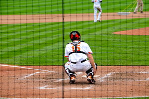 Craig Tatum (#15), catcher for the Baltimore O...