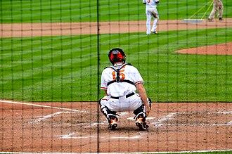 Catcher - Baltimore Orioles catcher Craig Tatum preparing for a game
