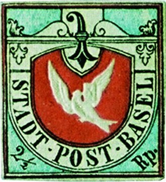 Postage stamps and postal history of Switzerland - The Basel Dove was the world's first tri-colored stamp