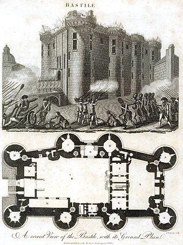 План Бастилии. Сначала камера де Сада находилась на 2-м этаже, а затем его перевели на 6-й