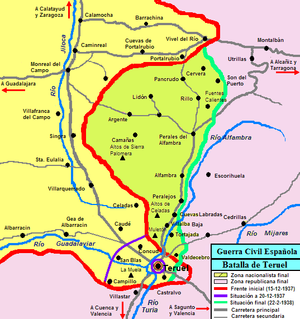 Battle of Teruel - The red line in the map shows the front at the beginning of the battle. The purple line shows the front on December 20 with Teruel surrounded by the Republicans. The green line shows the front at the end of the battle. Note La Muela, Teruel's Tooth, west of the town. Click on map to get a larger view.