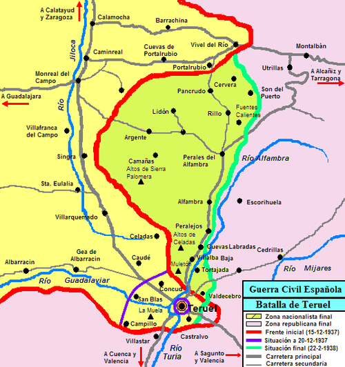Zaragoza Map Of Spain.Battle Of Teruel Wikipedia