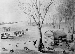 Battle of Duck Lake - This contemporary illustration of the Battle of Duck Lake offers a romanticized depiction of the skirmish.