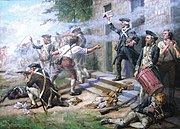 A close up of Continental infantry fighting in a street; a company on line firing to the left off the painting; in the center the officer; right foreground a drummer boy and behind him a soldier reloading a musket.