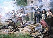 Un primer plano de la infantería continental luchando en una calle;  una empresa en línea disparando a la izquierda del cuadro;  en el centro el oficial;  a la derecha en primer plano un tamborilero y detrás de él un soldado recargando un mosquete.