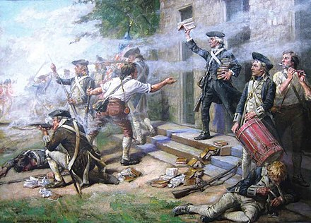 """Give 'em Watts, boys!"" - American troops repulse Wilhelm von Knyphausen's attack at Springfield Battle of Springfield NJ 1780.jpg"
