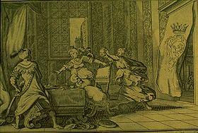 Philomèle et Procné montrent la tête d'Itys à son père, gravure pour le livre VI des Métamorphoses d'Ovide