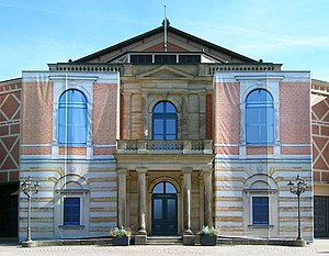 Bayreuth Festspielhaus - In 2014, photos printed on canvas hide the scaffolding around the Festspielhaus.