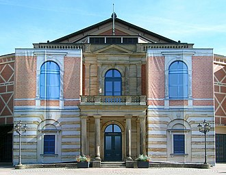 Bayreuth Festspielhaus - In 2014, photos printed on canvas hide the scaffolding around the Festspielhaus.