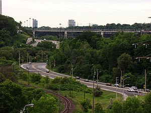 Architecture of Toronto - The Toronto ravine system acted as a natural barrier towards urban development, resulting in many of the ravines left close to their natural state. The ravine system had since been adopted as a central piece of Toronto's landscape.