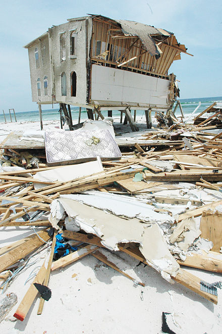 A beachfront home in Navarre Beach, Florida largely destroyed by Hurricane Dennis in 2005. Beach front home damaged by hurricane dennis 2005.jpg