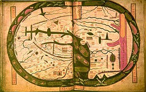 Beatus of Liébana - The world map from the Saint-Sever Beatus measuring 37 X 57 cm. This was painted c. 1050 as an illustration to Beatus's work at the Abbey of Saint-Sever in Aquitaine, on the order of Gregori de Montaner, Abbot from 1028 to 1072.