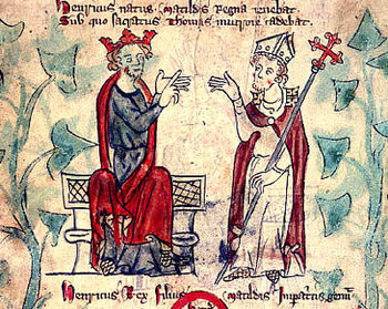 Henry II with Thomas Becket, from a 13th-centu...