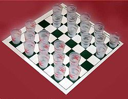 Large Heavy Duty Shot Glass Drafts or Checkers Drinking Game Board