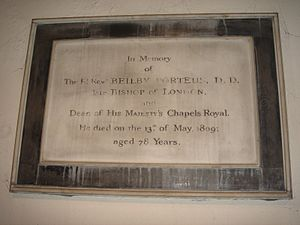 Beilby Porteus - Memorial plaque, All Saints Church, Fulham, London